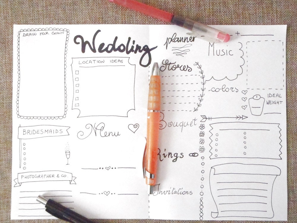 Wedding Planner Journal Wedding Ideas Agenda Diary Diy Planner