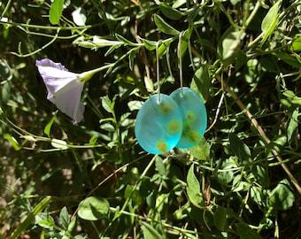 Pressed wattle flower drop earrings