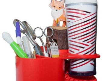 Table Mama Craft Caddy Desktop Organizer & Cup Holder - Red