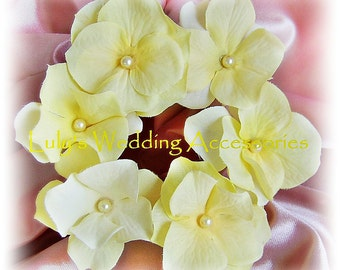 Yellow Flower Hair Pins, Bridal or Bridesmaids Wedding Hair Accessories, Set of Six Hydrangea Flower Pins