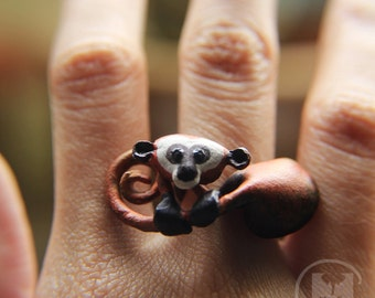 Monkey leather ring, made to order worn art