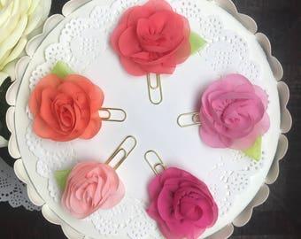 Chiffon Flower Planner Clips {pinks}