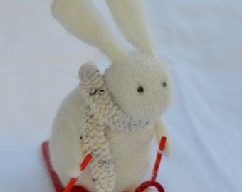 Needle Felt Rabbit Skiing and Wearing Scarf, Handmade,Bunny,Hare,Woodland,Needlefelt,Animal,Soft Sculpture,OOAK,Winter,Miniature