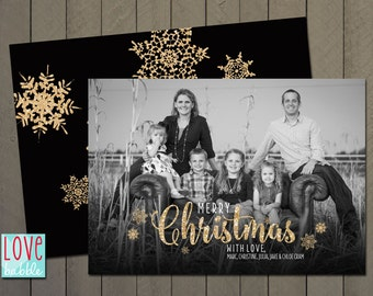 Christmas Holiday Snowflake Photo Card, Gold Glitter - PRINTABLE DIGITAL FILE - 5x7 Includes backside.
