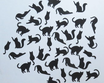 """Black Cat Confetti - 1"""" Inch 5 Different Poses Choose Your Color/Colors 100ct Halloween Silhouettes Kitty Kittens Decor Cute Diecuts Cards"""