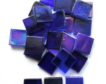 """15mm (3/5"""") Cobalt Blue Foil, Opaque and Transparent Mix Glass Mosaic Tiles//Mosaic Supplies//Craft Supplies"""