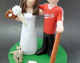 St. Louis Cardinals Baseball Wedding Cake Topper, Chicago Cubs Baseball Bride Wedding CakeTopper, Chicago White Sox Wedding Anniversary Gift