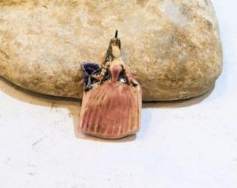marie antoinette pendant, handmade ceramic supply, art doll pendant, pink
