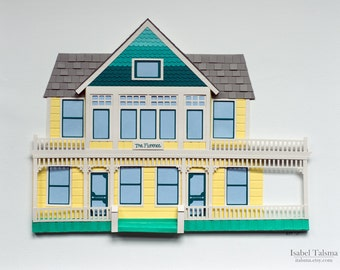 Custom Cut Paper House Portrait (House Warming / Anniversary Gift, Made-To-Order)