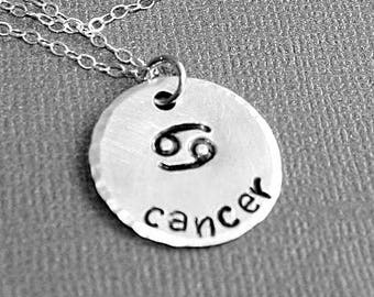 Zodiac Necklace - Cancer - Personalized - Hand Stamped Jewelry
