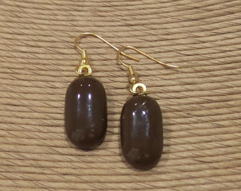 Brown Glass Earrings, Brown Dangle Earrings, Fused Glass Jewelry, Brown Jewelry on Etsy, Autumn, Ready to Ship - Siena -7