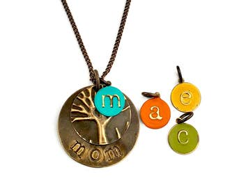 "Classic Mom Necklace Personalized with Kids Initials Painted in Birthstone Colors and Stamped with ""mom"", Classic Mom Gift"