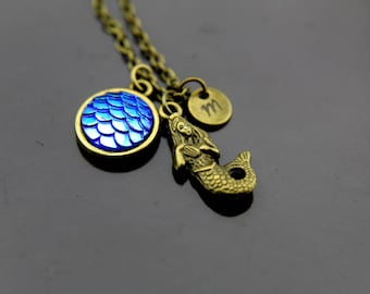 Fantasy Necklace Siren Necklace Mermaid Necklace Scale Necklace Mermaid Charms Fish Scales Necklace Personalized Necklace Initial Charm