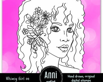 Whimsy Girl 04 Digital Stamp Instant Download - Suitable for Paper Crafts, Scrapbooking, Art Journals