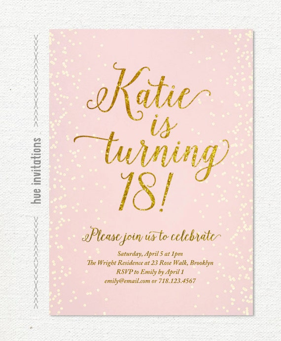 pink gold glitter 18th birthday invitation for girl modern