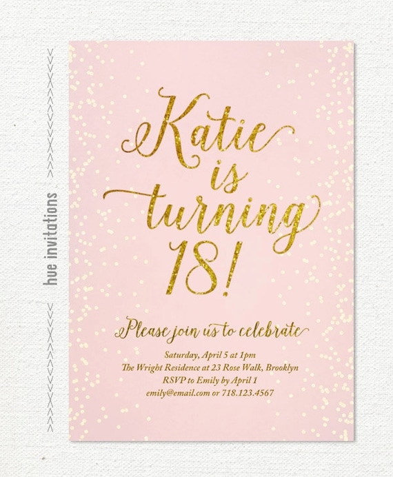 Pink gold glitter 18th birthday invitation for girl modern like this item bookmarktalkfo Choice Image