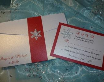 "Red Winter Wedding Invitation - "" Winter Love """
