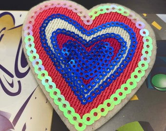 Pink Heart Sequin Embroidered Iron on Patch Applique PH011518