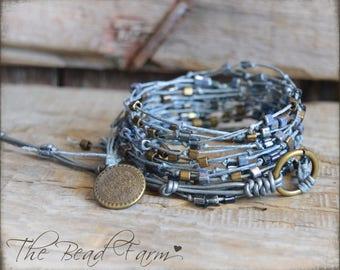 Multi wrap bracelet, Knotted Boho Wrap Bracelet, Boho Wrap Bracelet,  Long boho necklace, Beaded Linen Bracelet, Denim Wrap Bracelet