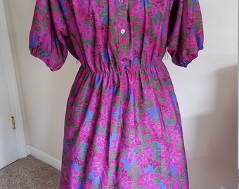 Vintage 1970s 1980s Signor California Bright Pink Blue Floral Casual Dress Medium/Large