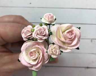 Flower Hair Pins in Shades of Blush Pink and Ivory White for Weddings, Prom, Bridesmaids // Bobby Pin Gift Set // Romantic Bridal Style