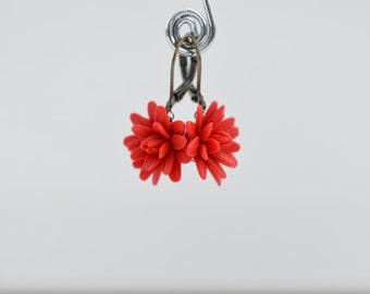 Red Dahlia Simple Dangle Earrings