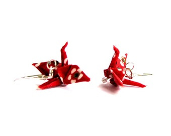 Tiny Origami Crane Earrings Red with White Flowers 3/4""