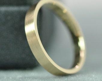 Pipe Cut Wedding Band, 14K Yellow Gold, 2.5mm Brushed Matte Finish, Karat Stamped, Sea Babe Jewelry