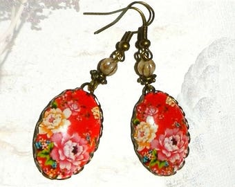 Earrings, floral, glass cabochon, red and multicolored, Bohemian style