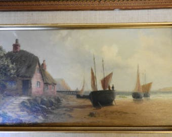 Fraser, coastal scene with beached boats and figures, oil on panel,signed