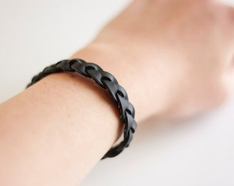 Braided Leather Bracelet / Dark Charcoal