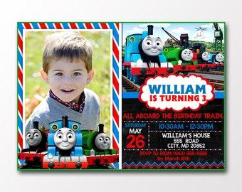 Thomas The Train Birthday Invitations With Photo/Thomas The Train Birthday/Thomas The Train Invitation/Thomas The Train Invites