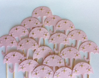 12 Umbrella baby shower gold and pink Party Picks, Cupcake Toppers, Food Picks