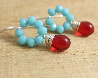 Earrings with Tiny, Turquoise Blue Crystal Beads and Red Glass Teardrops Wire Wrapped with Sterling Silver Wire HE-360