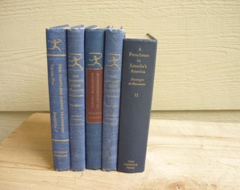 Vintage blue books, ocean colors, beach, interior design, home decor, book collection blue, instant collection, blue books