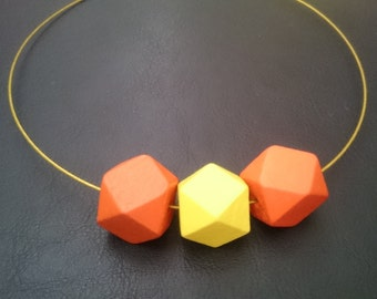 Handmade Geometric Wooden Beads Necklace