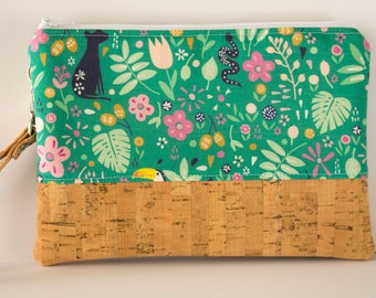 Jungle Wallet, Cellphone Wallet, Tropical Print, Small Purse, Wristlet Bag
