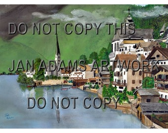 HALLSTATT AUSTRIA Landscape Watercolors Juried Show Church Village Water City Town Europe European Giclee Print Unframed