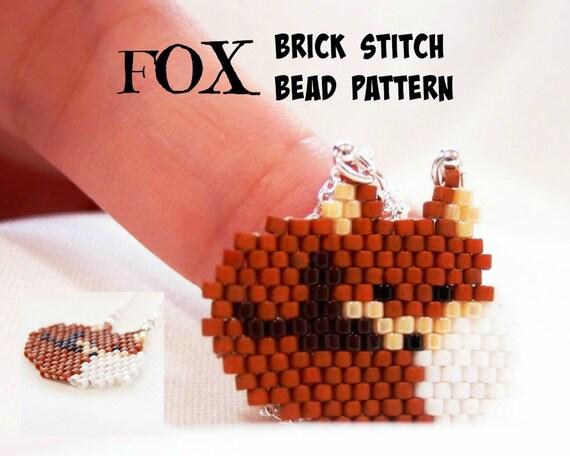Fox Beading Pattern Beaded Animals Delica Beads Brick