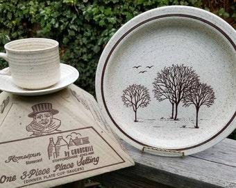 Vintage Homespun Stonecast Dinner set Trees pattern by Churchhill Straffordshire England & Stonecast | Etsy