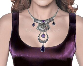 Amethyst Necklace Choker, Purple Amethyst Pendant, Antiqued Silver