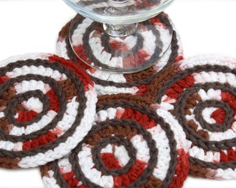 Coasters - Wine, Coffee, Mug Rug, Cotton, Beverage, Crocheted, Custom, Round, Kitchen, Brown, Barn Red, Made to Order, Your CHOICE OF COLORS