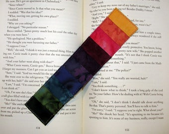 Quilted Bookmark Batik Rainbow Stripes