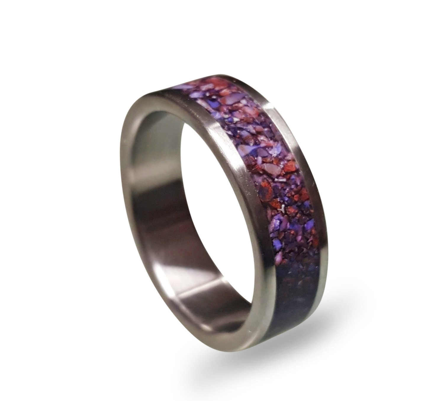 men s titanium ring with purple crushed amethyst inlay