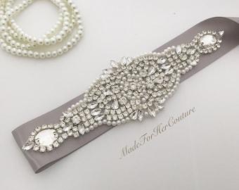 Silver Wedding sash- gray wedding sash, Pearl Crystal Sash- gray bridal belt- gray bridal sash, Bridal Sash-silver wedding belt