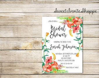 Watercolor Floral Bridal Shower Invitation, Boho Red Floral Bridal Invitation, Watercolor Flowers Invitation, Bohemian Shower Invitation