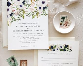 Navy and Blush Wedding Invitations, Boho Chic Wedding
