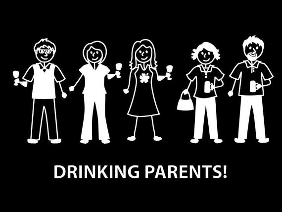 Drinking parents adult stickers customize your stick family