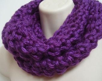 infinity scarf  purple chunky crochet circle scarf loop scarf