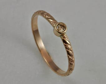14k gold and diamond ring, engagement ring, gold ring, diamond ring, conflict free diamond, recycled gold, eco friendly ring, wedding band